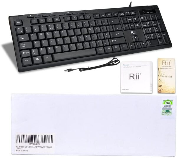Rii RK907 Office Keyboard Full Size USB Wired Keyboard Compatible with Mac PC Tablet Windows Android Microsoft UK Layout