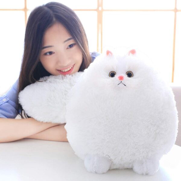 Winsterch Cuddly Cat Soft Toy Stuffed Cat Teddy Plush Animal Toy,Kids Birthday Baby Doll,White Cat Soft Toy (White, 30 CM)