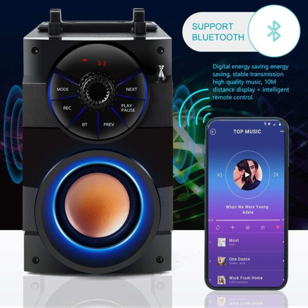 TAMPROAD Portable Bluetooth Speakers with Subwoofer Rich Bass Wireless Outdoor/Indoor Party Speakers Powerful Speaker Support Remote Control FM Radio for Phone Computer PC Home TV