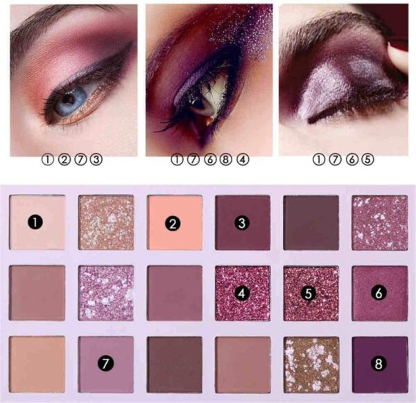 ONEWELL New Nude Eyeshadow Palette 18 Colors Matte Shimmer Glitter Multi-Reflective Shades Complexion Ultra Pigmented Cherry Makeup Eye Shadow
