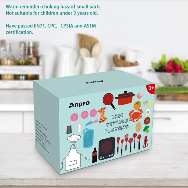 Anpro 32Pcs Kitchen Set,Toy Kitchen Accessories Pretend Play with Simulation Induction Cooker,Pots and Pans,Detachable Fruits Vegetables etc,Great Learning Gift for Toddlers Baby Girls Boys
