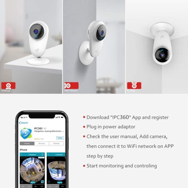 Victure Security Camera 4pcs WiFi 1080P Indoor IP Camera Smart 2.4G Surveillance Camera with Night Vision 2-Way Audio Motion Detection for Home/Baby/Nanny/Elderly