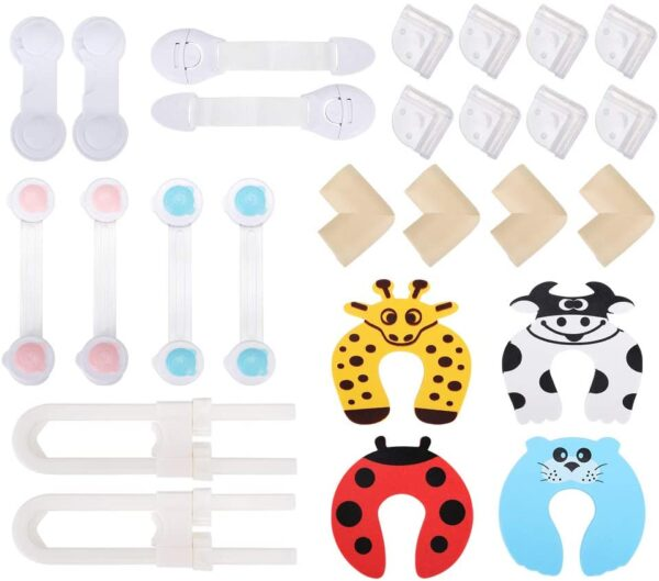 Lehoo Castle Child Safety Cupboard Lock,26pcs Baby Safety Kit-6 Cabinet Locks,2 Cupboard Straps,8 Child Proofing Corners,4 Foam Corner Protectors,4 Baby Safety Door Stoppers,2 Sliding Cabinet Locks