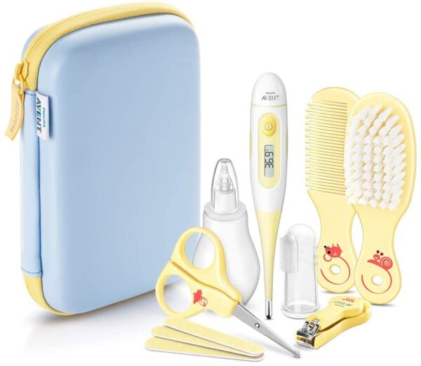 Philips Avent All Baby Care Essentials Set Including Digital Thermometer, Nasal Aspirator, Nail and Hair Care - SCH400/00