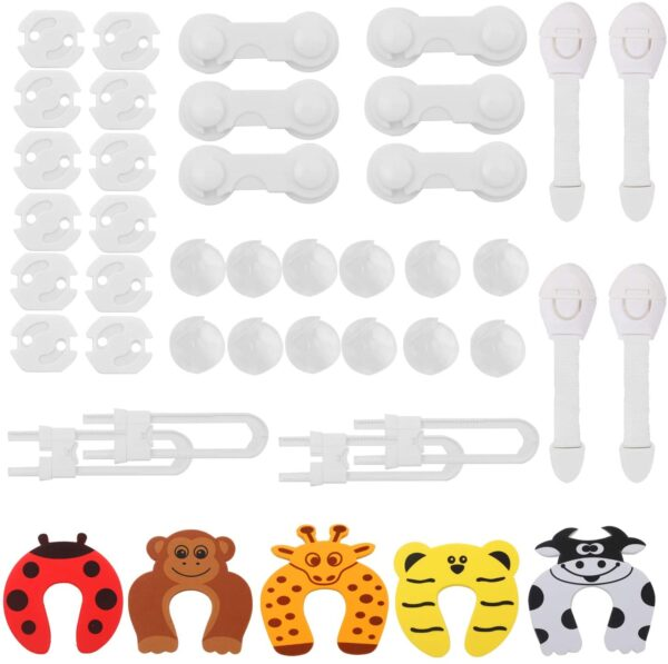 Hoiny Baby Safety Set 43 PCS Children's Proofing Kit with 12 Plug Socket Covers, 12 Corner Protectors, 6 Cabinet Locks, 4 Cabinet Locks, 5 Door Stopper Baby Safety, 4 Cupboard Straps Locks