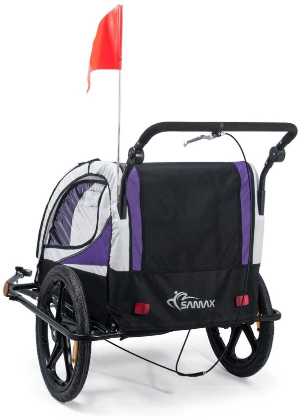 SAMAX Children Bike Trailer 2in1 Kids Jogger Stroller with Suspension 360° rotatable Childs Bicycle Trailer Transport Buggy Carrier for 2 Kids in Purple - Black Frame
