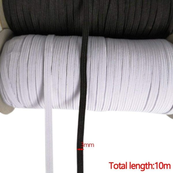 10m Elastic Cord 3mm Width Elastic Rubber Bungee Band Stretch Rope Strings for DIY Crafting Braided Trim Sewing Clothing Accessories Jewelry Making