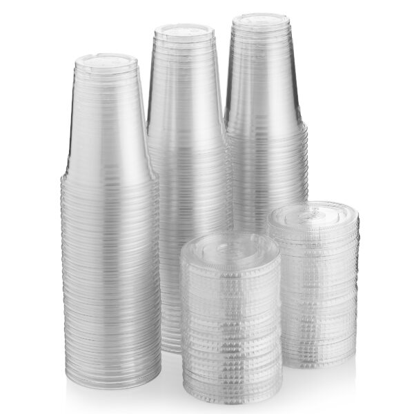 Green Direct 16 oz. Disposable Plastic Clear Cups With Flat Lids for Cold Drink / Bubble Boba / Iced Coffee / Tea / Smoothie Pack of 100