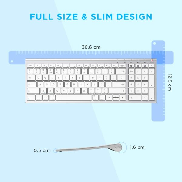 Bluetooth Keyboard for Mac, Jelly Comb KUS015G-2 Multi-Device Wireless Keyboard Full Size Ultra Slim UK QWERTY Specially for Apple OS/iOS Systems, White and Silver