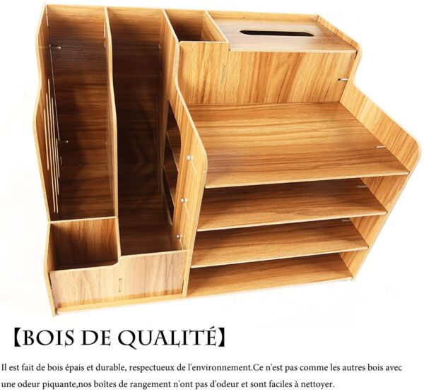 Catekro Office Desktop Storage Box Dormitory Desktop Rack Office Supplies Folder Information Bookshelf Paper Storage Box Cherry Wood Large Capacity (Cherry Wood)