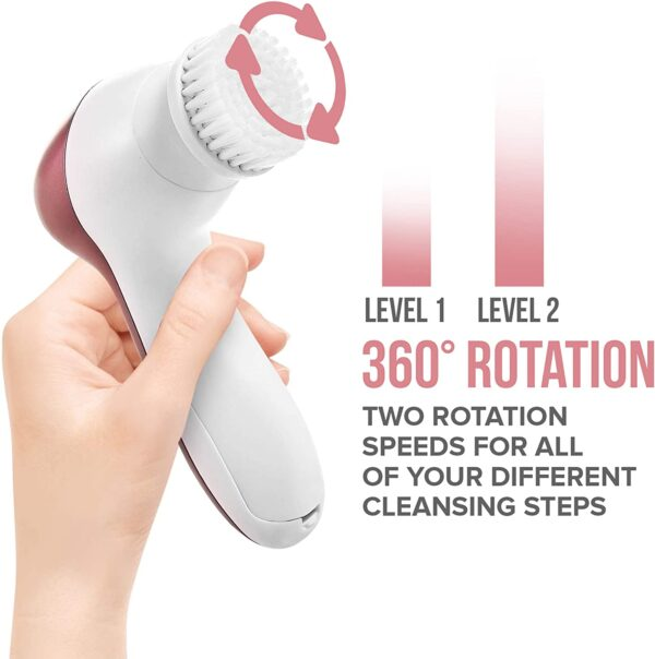 7 IN 1 ELECTRIC FACIAL FACE SONIC SPA CLEANSING BRUSH SKIN BEAUTY CARE CLEANSER WITH POUCH (ROSE GOLD)