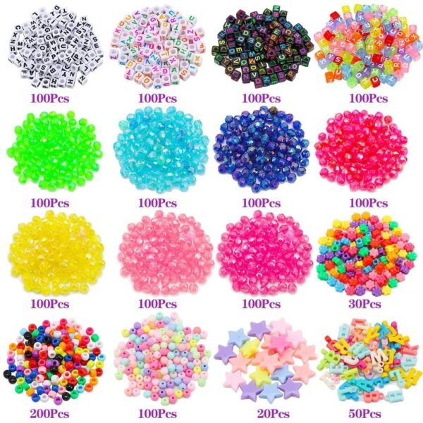 umorismo 1500 Pcs Charms & Beads Kit Multicolor Letter Alphabet ABC Beads Pony Beads Flower Star Beads with 6 Roll Colored Elastic String Cord for Jewelry Making DIY Craft Bracelet Necklace Handmade