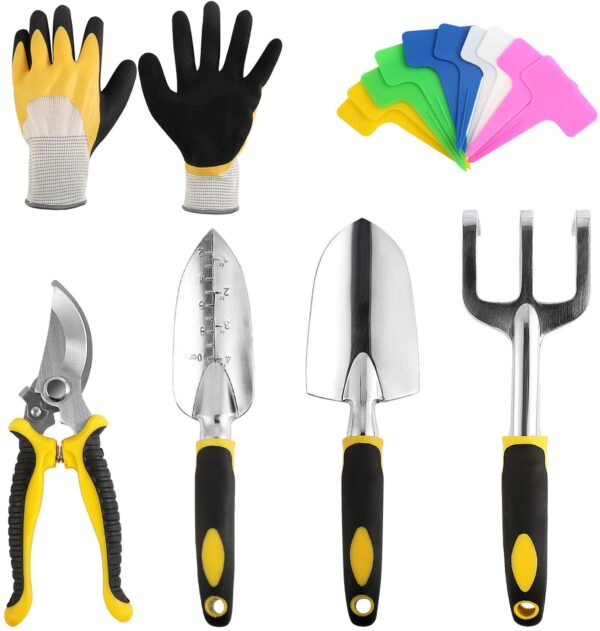 BelleStyle Garden Tools Set, 5 Piece Gardening Kit Stainless Steel Heavy Duty Indoor and Outdoor Hand Planting Kit with Plant Labels, Gloves, Pruner, Rake, Transplant Trowel and Trowel for Gardener