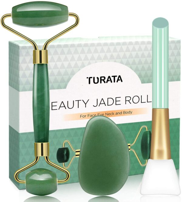 Jade Roller Gua Sha Scrapping Tool Set, TURATA Skin Care Solution for Anti-Wrinkle, Anti-Aging, Rejuvenates Face and Neck Skin, Skin Tightening, Cheeks Slimmer
