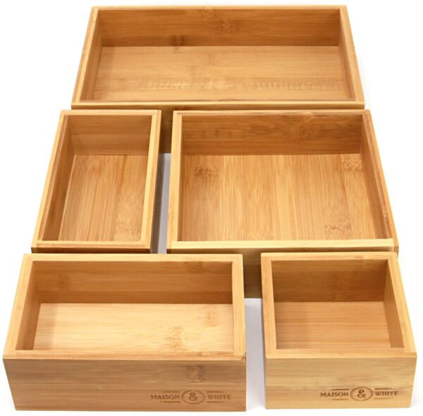 5-Piece Bamboo Drawer Organiser | Set of 5 Durable Wood Storage Boxes | Assorted Sizes | Versatile and Configurable | Home Storage Solution | M&W