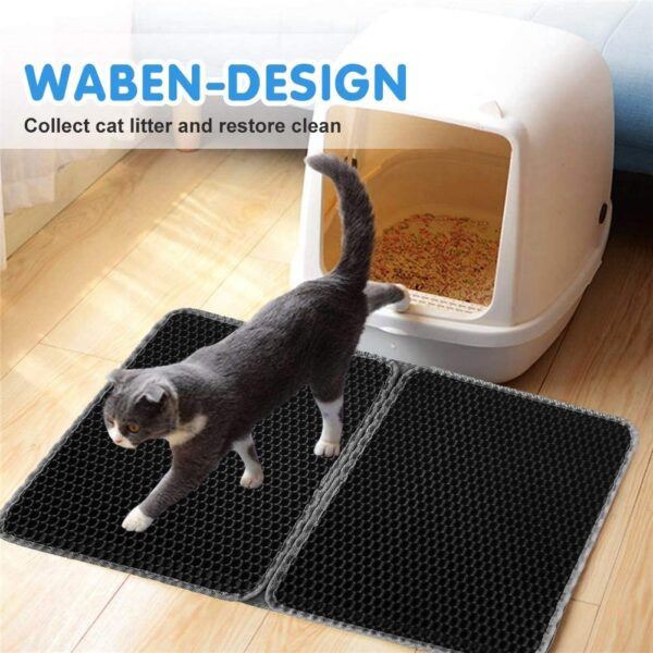 "Cat Litter Mat, Foldable Large Cat Litter Tray Trapper Mat with Waterproof EVA Double Layer, Washable Non-Slip Pet Litter Catcher Clean Pad Cat Litter Trapping Mats Accessories Grey (15"" x 24"")"