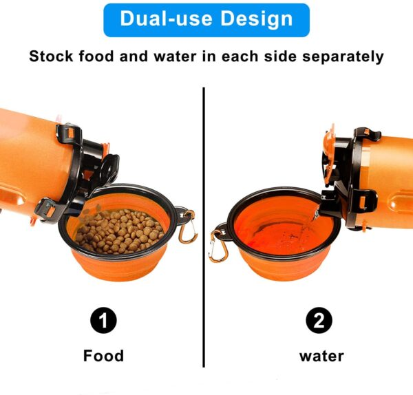 MATT SAGA Portable Pet Water Bottle and Food Container for Travel 2-in-1 Dual Chamber Bottle with 2 Collapsible Bowls Dogs Cats Feeder Water Food Bottle Outdoor Travel (Orange)