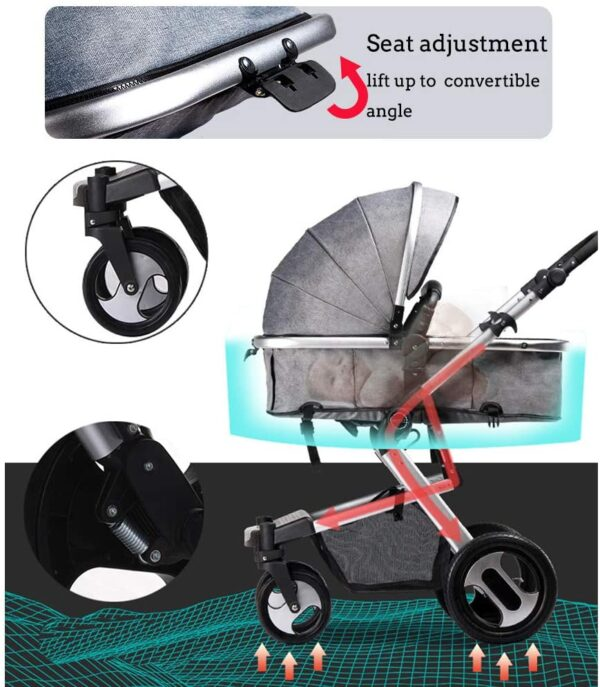 RUXGU High landscape Pushchairs 2-in-1 Baby stroller Travel Systems Folding Lightweight Newborn Safety System With Rain Cover and Mom Bag(Gray)