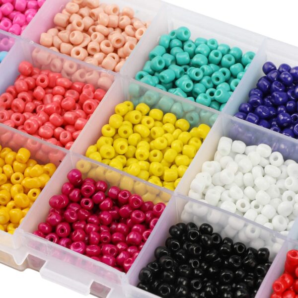 PHOGARY 3500pcs Glass Seed Beads, Mixed Colors Small Pony Beads Assorted Kit Opaque Colors Lustered Loose Spacer Beads, 4mm Round, Hole 1.3mm for Jewelry Making, DIY Crafting (15 Colors)
