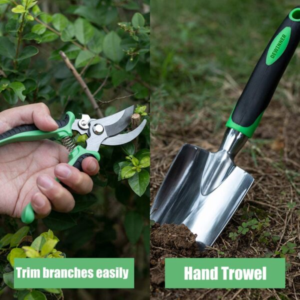 DEWINNER Garden Tool Set, Hand Tool Gift Kit, Outdoor Gardening transplanting for Gardener, with heavy duty hold bag for storage