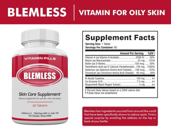 Blemless Clear Skin Supplements Pill UK- Best Tablets for Oily Skin and a Glowing Complexion | Vitamin Pills for Women & Men That May Help Some Spots & Blemishes 60CT