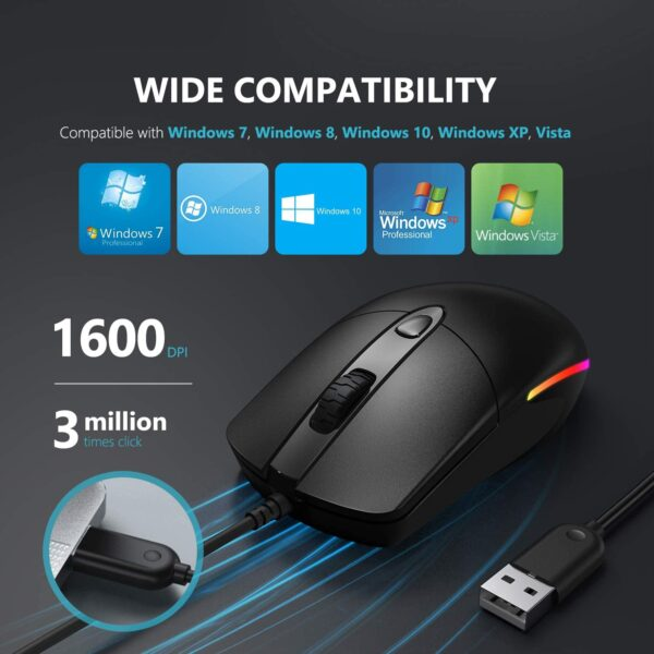Wired Mouse, Jelly Comb Optical Gaming Mice with Silent Clicking and RGB Backlight for PC Computer Laptop, 1600 DPI, Black