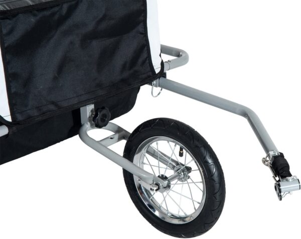 HOMCOM 2 in 1 Collapsible 2-Seater Kids Jogger Stroller and Bike Trailer with Pivot Wheel Suitable for 18 Month +(Black and White)
