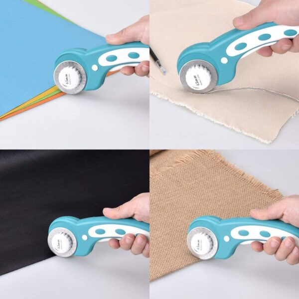 DealKits 45mm Rotary Cutter Set Handle Rolling Cutter with 3 Extra Blades and Safety Lock, Sewing Accessories and Supplies for Cutting Fabric Paper Leather Scrapbooking Quilting(Left & Right Hand)