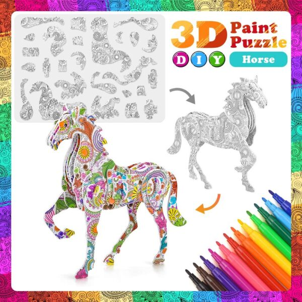 SUNNYPIG DIY Arts Crafts Puzzle Kit Best Toy Gift for Kids Girls Boys Educational Painting Crafts Kit Birthday Gift Toy for Kids Children With 4 Animals Puzzles with 12 Pen Markers