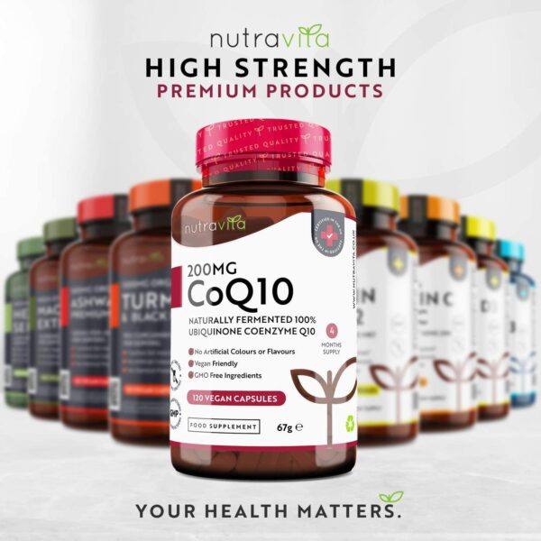 Co Enzyme Q10 200mg - 100% Pure and Naturally Fermented Ubiquinone - 120 Vegan Capsules of High Strength CoQ10 (4 Months Supply) - Made in The UK by Nutravita