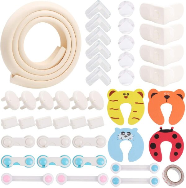 ABirdon Baby Safety Kit 44 Pcs, Baby Proofing Kit Including Corner Protectors, Child Safety Cupboard Locks, Socket Covers, Foam Door Stoppers, Edge Bumper Strip, Double-Sided Tape, No Screws Drilling