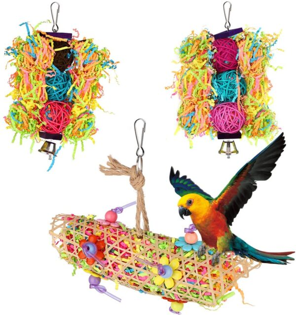VavoPaw Bird Toys, 3 Pieces Hanging Bird Parrot Chew Pecking Chewing Toy Cage Accessories Set Nest Perch With Wooden Ratten Balls Bells Paper Slips for Budgie Lovebirds Conures Parakeet - Colorful