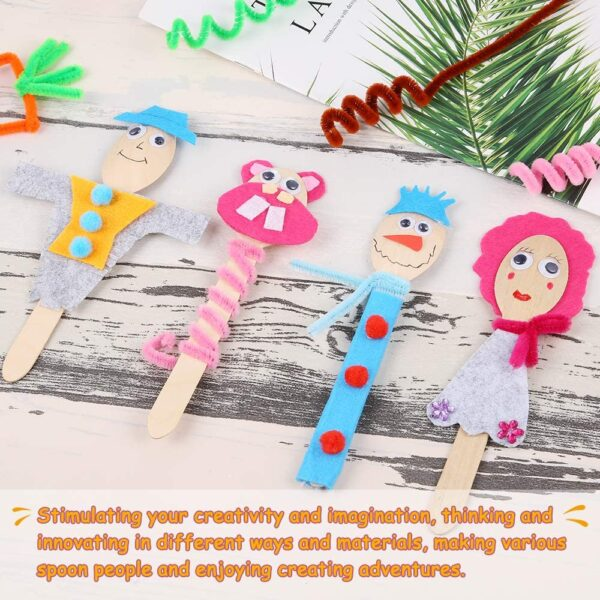 Caydo 15 Sets People Wooden Spoons Forks Activity Kit Class Pack for Kids, Family Time, School and Class Art Crafts