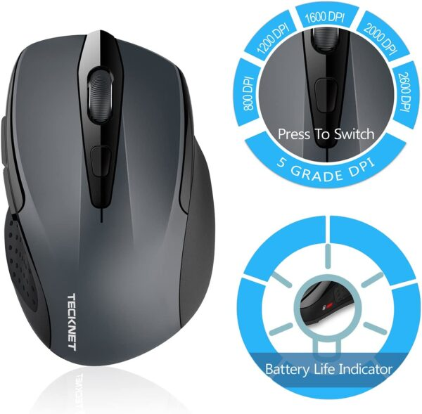 TeckNet Bluetooth Mouse, 2600DPI Adjustable Wireless Mouse With 24 Months Battery Life Cordless Mice for PC/Tablet/Laptop Portable Small Travel Mouse