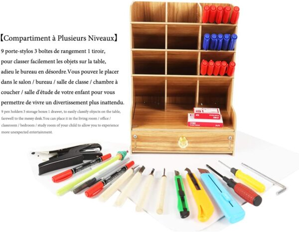 Catekro Office Storage Box, Multifunction Office Supplies Stationery Storage Box Solid Wood Pen Holder Storage Rack for Debris Shelf (Cherry Wood)
