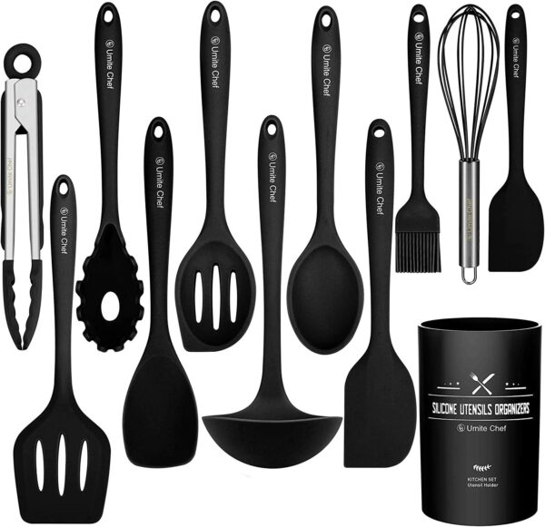 Kitchen Utensil Set - 12 Cooking Utensils Set- Colorful Silicone Kitchen Utensils - Nonstick Cookware with Spatula Set - Kitchen Tools Kitchen Gadgets with Utensil Crock by Umite Chef (Black)