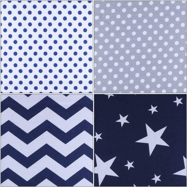 SUPERSUN 7pcs 50x50cm Patchwork Cotton Fabric Squares Bundles Remnants for Sewing, Quilting, DIY Craft, Handicraft, Blue