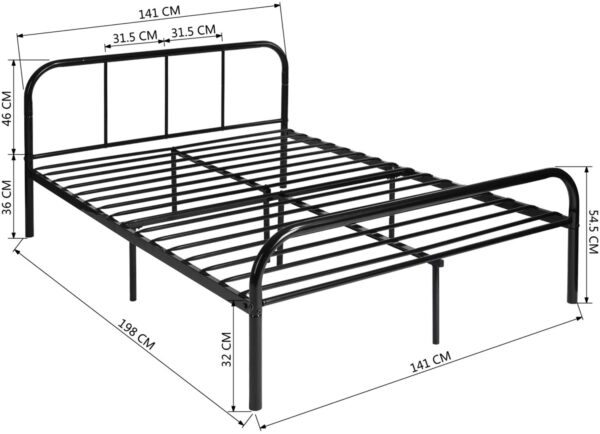 Coavas Double Bed Frame 4ft 6 Solid Bed Frame with 2 Headboard Metal Bed Frame Black For Adults, Teenagers, Only Bed Frame 140x198 cm, New Version