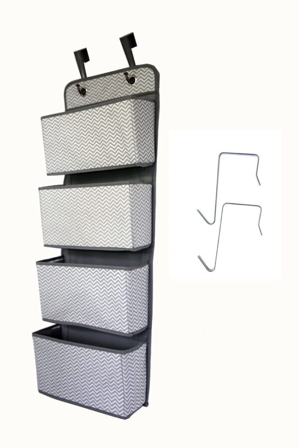 Hanging Closet Organizer, 4-Pockets Wall Mount/Over Door Storage for Toys, Purses, Keys, Sunglasses - Great Home Choose Grey