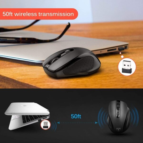 [Updated Version] Wireless Mouse, Patuoxun 2.4G USB Wireless Mice Optical PC Laptop Computer Cordless Mouse with Nano Receiver, 6 Buttons, 2400 DPI 5 Adjustment Levels for Windows Mac Macbook Linux - Super Energy Saving, Black