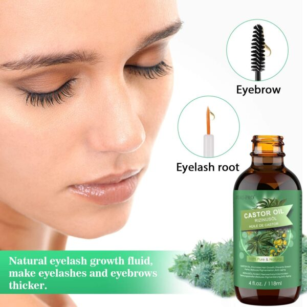 Castor Oil for Hair Growth Eyelashes(118ml),100% Pure&Natural Black Castor Oil,Cold Pressed Castor Oil for Eyelashes,Hair Growth,Beard,Body,Face, skin Care,Healthy Nails