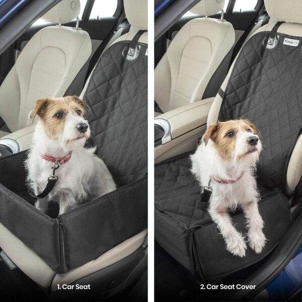 Dog Car Seat Cover with FREE Pet Seat Belt MuttStuff & Co Waterproof Covers (2-in-1) Fold Down Flaps for Full Front Coverage or Small Basket Hammock w/ Sturdy Walls | Travel Accessories