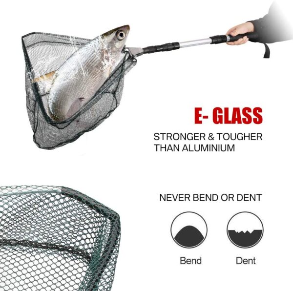 HEYOMART Fishing Landing Net Telescope Foldable Collapsible Extensible for Bird Fish Catch Release Lightweight Portable Aluminum Alloy Frame Handle