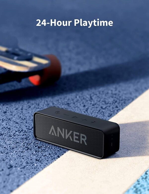 Anker SoundCore 24-Hour Playtime Bluetooth Speaker with 10W Limited Output, Stereo Sound, Rich Bass, 66-foot Bluetooth Range, Built-in Mic. Portable Wireless Speaker for iPhone, Samsung, and More