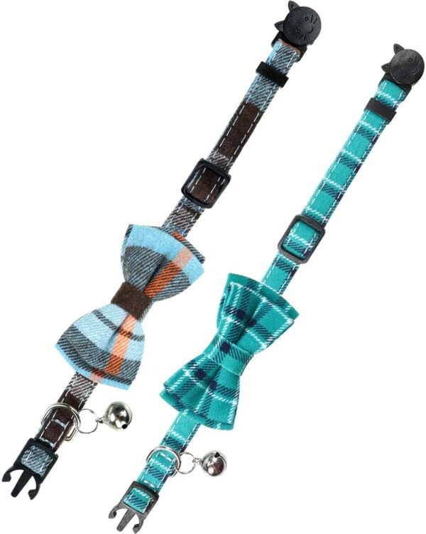 Joytale Quick Release Cat Collar with Bell and Bow Tie, Cute Plaid Patterns, 2 Pack Kitty Safety Collars, Haze blue+Teal