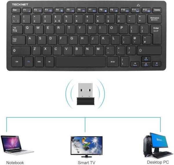 TECKNET 2.4G Wireless Keyboard For Windows 10/8/7/Vista/XP and Android Smart TV, Extra Long Battery Life, UK keyboard Layout and Whisper-Quiet Keyboard Design