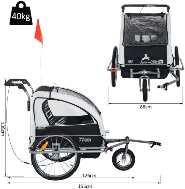 HOMCOM 2 in 1 Child Trailer Bicycle 2-seat Kids Carrier Baby Stroller Jogger Kit in Steel Frame with Hand Brake Multifunctional Black and White