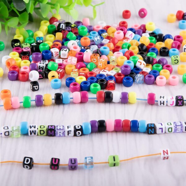 Duufin Beads for Jewellery Making 8mm Pony Beads Colourful Alphabet Letter Beads 8 Rolls Elastic Bracelet String 1 Pc Tweezers for Women Girls Jewellery Making and DIY Crafts