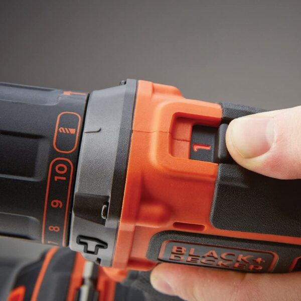 BLACK+DECKER 18 V Cordless 2-Gear Combi Drill with Kitbox and 1.5 Ah Lithium Ion Battery