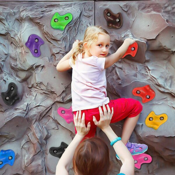 NOBRAND 10× Rock Climbing Holds for Children, Coloured Wall Climbing Stones, Play Tower for Kids Climbing Frame, Tree House, Rock Hold Grab Stones Grip Climbing Kit Includes 10 Screws